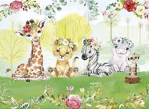 Painel de Festa em Tecido Sublimado 3d Safari Tropical Florido