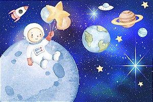 Painel de Festa em Tecido Sublimado 3d Astronauta Aquarela