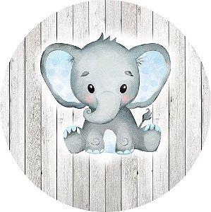 Painel de Festa Redondo em Tecido Sublimado Elefantinho e Madeira Branca