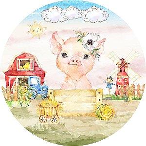 Painel de Festa Redondo em Tecido Sublimado Porquinho da Fazendinha