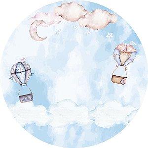 Painel de Festa Redondo em Tecido Sublimado Céu Balões Aquarela