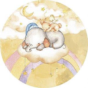 Painel de Festa Redondo em Tecido Sublimado Elefantinho Lindo Sonhos