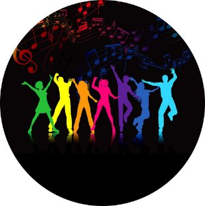 Painel de Festa Redondo em Tecido Sublimado Dancing Neon