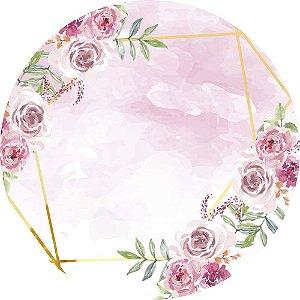 Painel de Festa Redondo em Tecido Sublimado Flores Fundo Rosa