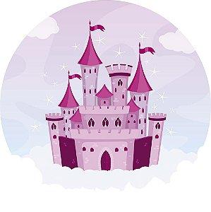 Painel de Festa Redondo em Tecido Sublimado Castelo Mágico Rosa