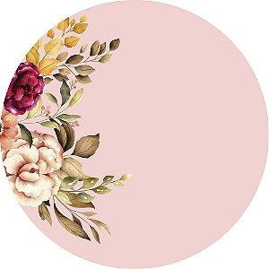 Painel de Festa Redondo em Tecido Sublimado Folhagens e Flores