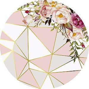 Painel de Festa Redondo em Tecido Sublimado Geométrico Rosé e Dourado