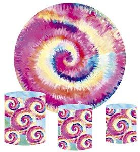 Kit Painel Redondo De Festa e Capas de Cilindro em tecido sublimado Tie Dye Espiral