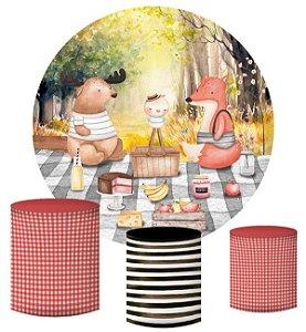 Kit Painel Redondo De Festa e Capas de Cilindro em tecido sublimado Piquenique Bosque Outono