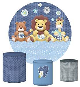 Kit Painel Redondo De Festa e Capas de Cilindro em tecido sublimado Safari Azul dos Meninos