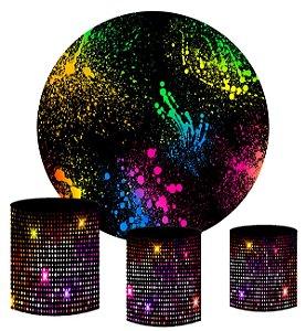 Kit Painel Redondo De Festa e Capas de Cilindro em tecido sublimado Show Neon