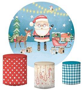 Kit Painel Redondo De Festa e Capas de Cilindro em tecido sublimado Natal Aquarela