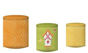 Kit Capas de Cilindro de festa em tecido sublimado Passarinhos Casinha