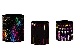 Kit Capas de Cilindro de festa em tecido sublimado Luzes Neon