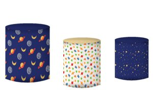 Kit Capas de Cilindro de festa em tecido sublimado Astronauta Planeta