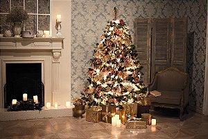 Painel de Festa em Tecido Sublimado 3d Árvore de Natal