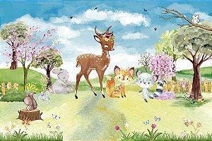 Painel de Festa em Tecido Sublimado 3d Bosque Florido Bichinhos