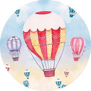 Painel de Festa Redondo em Tecido Sublimado Grande Balão Vermelho