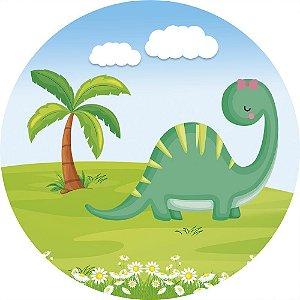 Painel de Festa Redondo em Tecido Sublimado Dinossauros Coqueiro