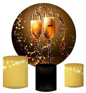 Kit Painel Redondo De Festa e Capas de Cilindro em tecido sublimado Ano Novo