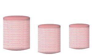 Kit Capas de Cilindro de festa em tecido sublimado Circo Rosa