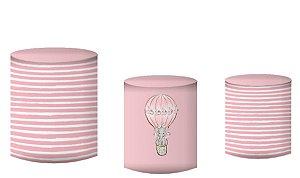 Kit Capas de Cilindro de festa em tecido sublimado Elefantinha Rosa