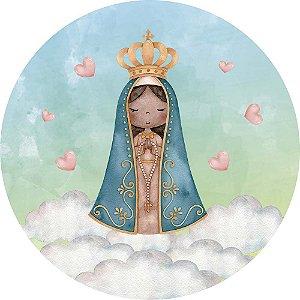 Painel de Festa Redondo em Tecido Sublimado Nossa Senhora Nuvens