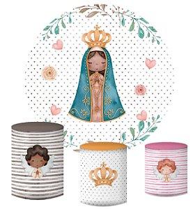 Kit Painel Redondo De Festa e Capas de Cilindro em tecido sublimado Nossa Senhora