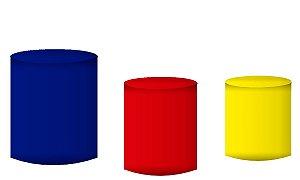 Kit Capas de Cilindro de festa em tecido sublimado Azul Vermelho e Amarelo