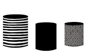 Kit Capas de Cilindro de festa em tecido sublimado Fundo Geométrico
