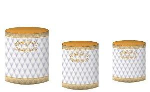 Kit Capas de Cilindro de festa em tecido sublimado Realeza Dourado