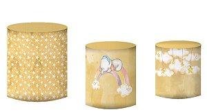 Kit Capas de Cilindro de festa em tecido sublimado Elefantinho Lindos Sonhos