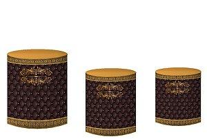 Kit Capas de Cilindro de festa em tecido sublimado Realeza Marrom