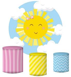 Kit Painel Redondo De Festa e Capas de Cilindro em tecido sublimado Sunshine Nuvens