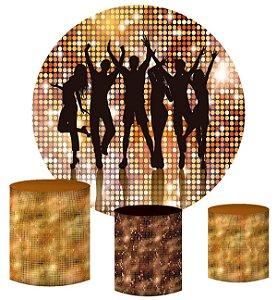 Kit Painel Redondo De Festa e Capas de Cilindro em tecido sublimado Balada Disco