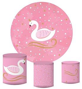 Kit Painel Redondo De Festa e Capas de Cilindro em tecido sublimado Cisne Rosa Aquarela