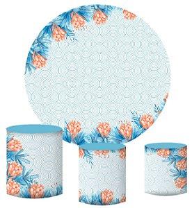 Kit Painel Redondo De Festa e Capas de Cilindro em tecido sublimado Flores e Ondas Geométricas