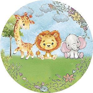 Painel de Festa Redondo em Tecido Sublimado Safari Baby Cute Aquarela