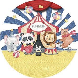 Painel de Festa Redondo em Tecido Sublimado Circo dos Bichinhos Aquarela
