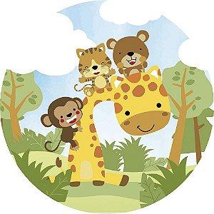 Painel de Festa Redondo em Tecido Sublimado Safari Girafa