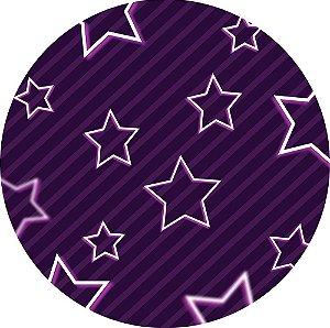 Painel de Festa Redondo em Tecido Sublimado Listras e Estrelas