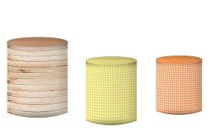 Kit Capas de Cilindro de festa em tecido sublimado Fazendinha madeira