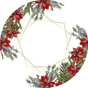 Painel de Festa Redondo em Tecido Sublimado Flor de Natal