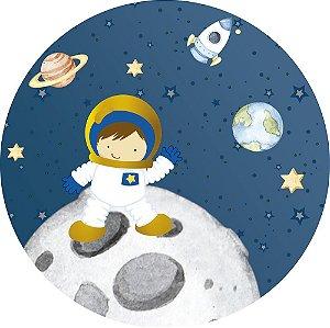 Painel de Festa Redondo em Tecido Sublimado Astronauta na Lua