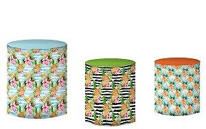 Kit Capas de Cilindro de festa em tecido sublimado Flamingos Abacaxi
