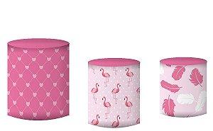 Kit Capas de Cilindro de festa em tecido sublimado Flamingos Rosa