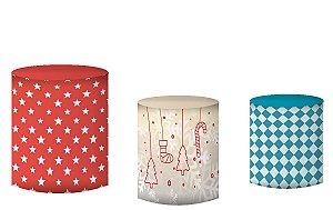 Kit Capas de Cilindro de festa em tecido sublimado Natal Estrelas