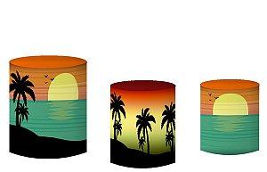 Kit Capas de Cilindro de festa em tecido sublimado Tardezinha na Praia