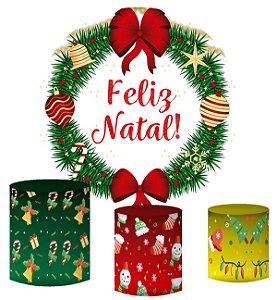 Kit Painel Redondo De Festa e Capas de Cilindro em tecido sublimado Feliz Natal
