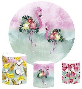 Kit Painel Redondo De Festa e Capas de Cilindro em tecido sublimado Flamingos Pink